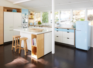 1950s beach house kitchen updated with modern appliances