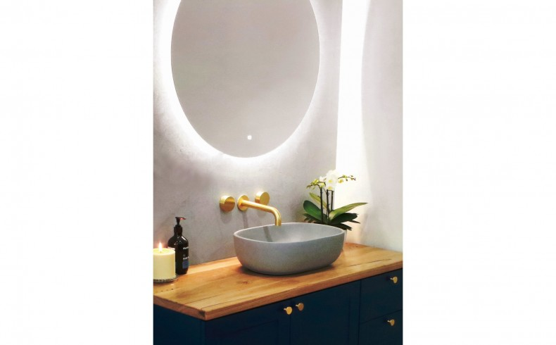 20190112D Highgrove Bathrooms Oliver Navy, Concrete Basin, Brass and LED