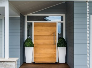 Shiplap entry door handmade from solid timber to match individual specifications