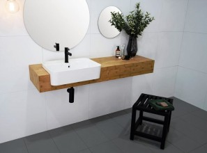 Bamboo bathroom furniture collection with 9 optional basins