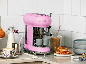 Retro 1950s style espresso coffee machine in authentic Pastel Pink and Pastel Green