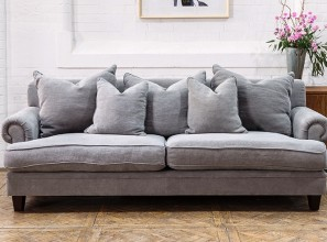 Linen sofas with duck feather cushions