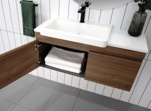 Semi-recessed vanities in a range of benchtop materials