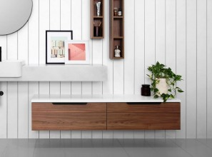 Large collection of bathroom ensembles, tallboys, shelves and cabinets