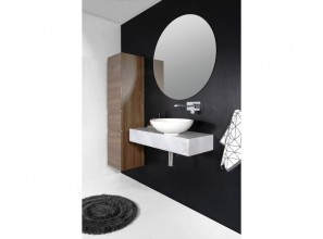 Semi-recessed collection of bathroom vanities with numerous options