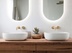 Highgrove Bathrooms wall-mounted blackbutt timber vanity