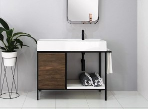 Bathroom vanity pairs stunning Scarabeo Italian ceramic with a striking metal frame