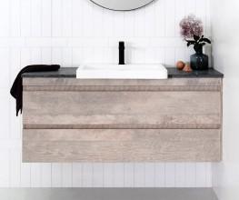 Semi-recessed vanities make optimum use of small bathrooms