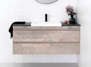 Semi-recessed vanities make optimum use of small bathrooms