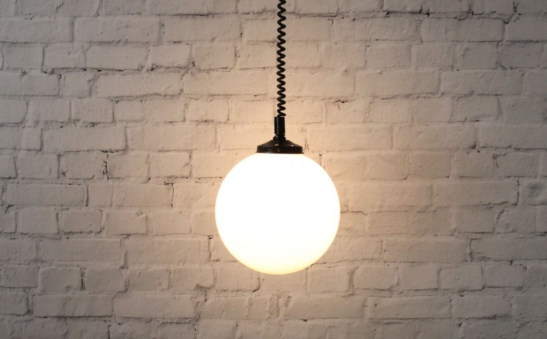 20190410C Fat Shack Vintage Glass Ball Rise & Fall Pendant Light