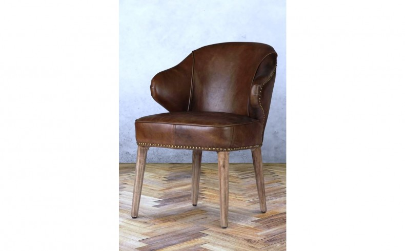 20190514E FAT SHACK VINTAGE Baton Deconstructed Leather Dining Chair