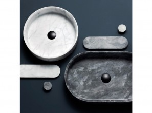 Stone unites with metals in the new Eccentric Stone collection of bathroom basins