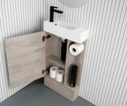 Compact powder room vanity with 150mm projection