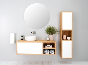 Bamboo vanity that balances bathroom-design with storage