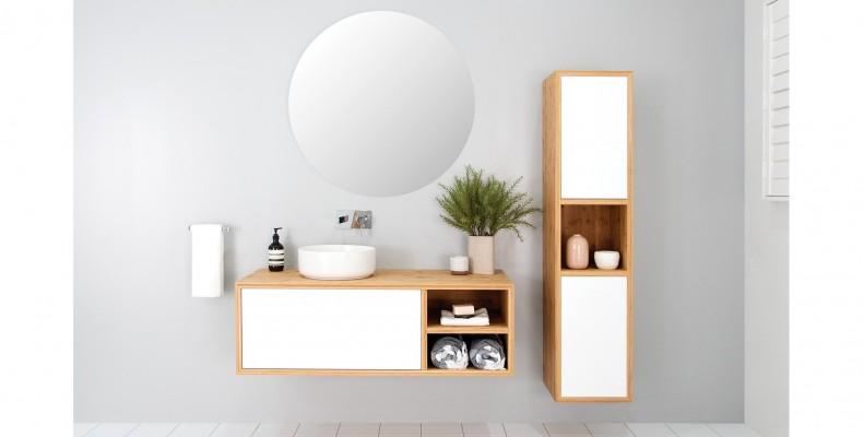 Bamboo vanity that balances bathroom-design with storage
