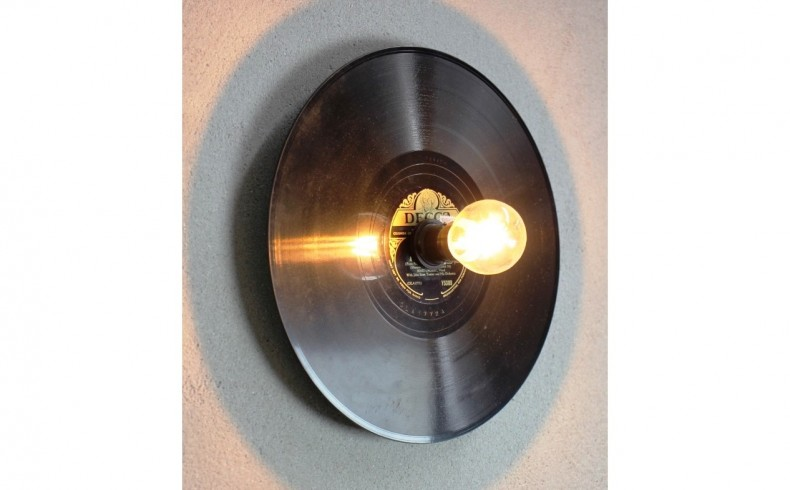 Ceiling And Wall Lights Made With Vintage Vinyl Records