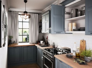 Folding-door systems for kitchen and laundry cabinetry