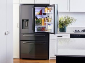 Side-by-Side range and upgraded French Door refrigerators from Samsung