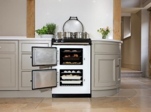 60cm wide AGA cooking range on wheels and with two ovens