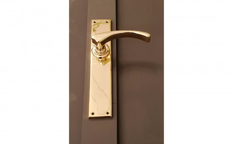 20190651E MEMORY LANE Melbourne handle in polished brass grey background