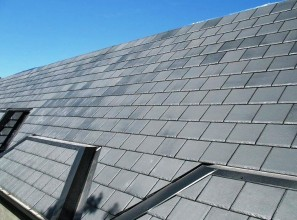 High strength lightweight slate-look and shingle-look roof tiles