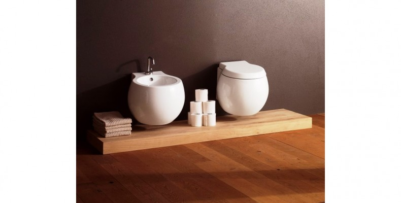 Globe-like shapes make for an unusual bathroom basin collection