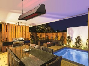 Combination heating/lighting for outdoors entertaining