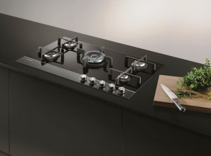Gas on glass cooktops ranging from one to five burners